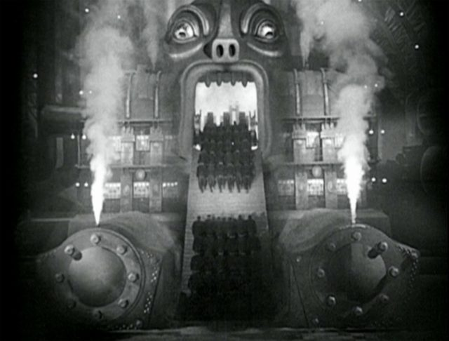 Operai inghiottiti dal mostro. Metropolis, Fritz Lang, 1927