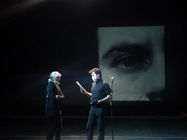 Giulia Weber e Gabriele Portoghese durante le prove di Hold your own