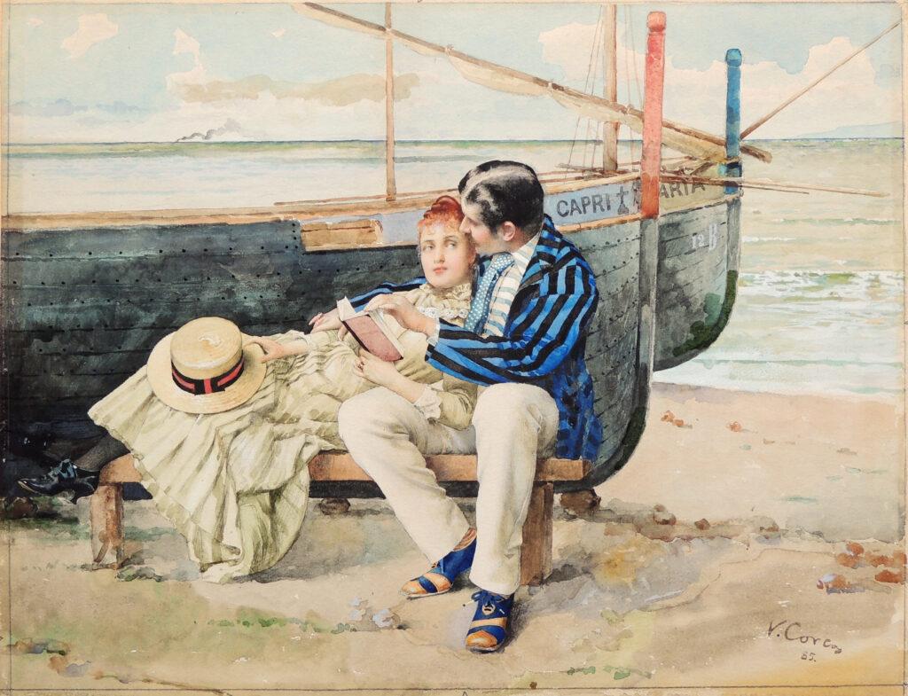 Vittorio Corcos Lune de miel, 1885, acquerello su cartone, 34,5x45,5 cm Collezione privata, courtesy Galleria d'Arte Goldoni, Livorno