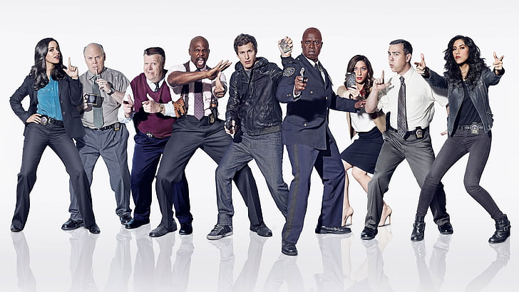 (S-D): Amy, Hitchcock, Scully, Terry, Jake, Holt, Gina, Boyle, Rosa - Brooklyn Nine-Nine