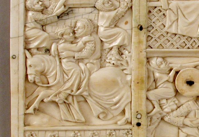 Dettaglio del cofanetto eburneo con fuga d'amore - Casket with Scenes of Romance, Francia ca. 1320 - Courtesy MET Metropolitan Museum of Art, New York