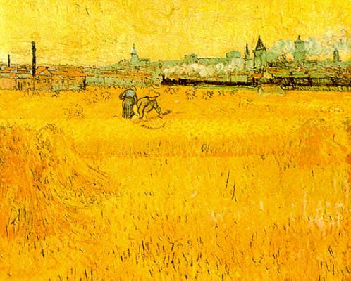 Vincent Van Gogh, I falciatori: in lontananza Arles, 1888, olio su tela, Museo Rodin