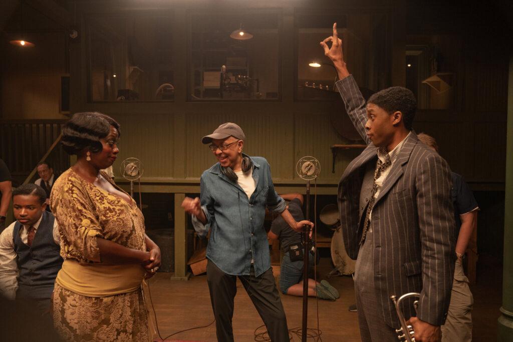 Viola Davis e Chadwick Boseman con il regista George C. Wolfe (Ma Rainey)