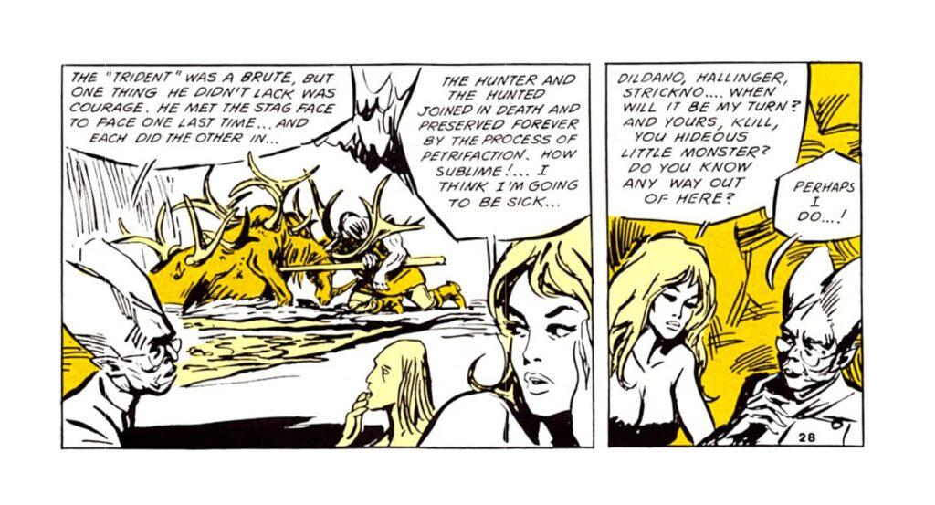 fantascienza umoristica anni '60: una tavola a fumetti da Barbarella (Jean-Claude Forest, 1964)