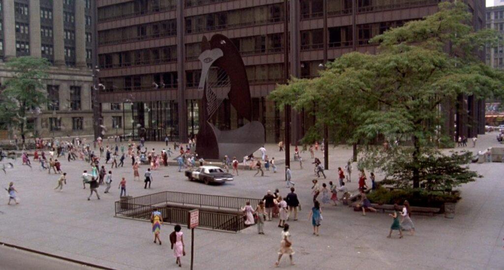 Daley Plaza (Chicago) in un fotogramma tratto da The Blues Brothers
